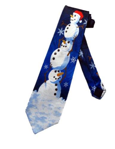 Cravate bonhomme de neige de Noël Steven Harris - bleu - cravate taille unique