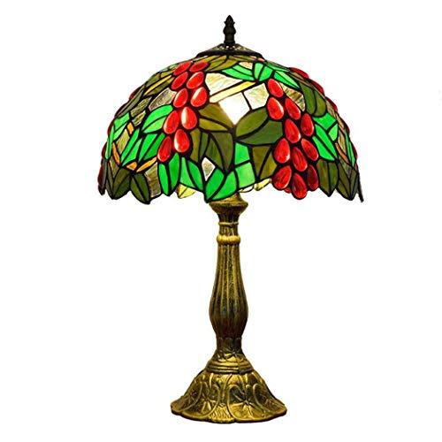 Lámparas de mesa Tiffany Lámpara de escritorio de uvas teñidas Lámpara de noche E27 Art Deco Lámparas de noche - Lámparas Tiffany para dormitorio, sala de estar, base hecha de aleación de aluminio