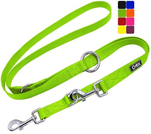 DDOXX Hundeleine Nylon, 3fach verstellbar, 2m | für kleine & große Hunde | Doppel-Leine Zwei Hund Katze Welpe | Schlepp-Leine groß | Führ-Leine klein | Lauf-Leine Welpen-Leine | M, Grün