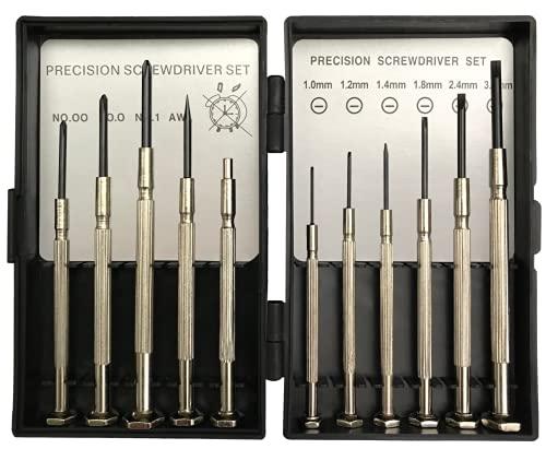 Mini Schraubenzieher Set für Präzisionsreparaturen mit gehärteter Spitze geeignet für Handy, Laptop, PC, Brillen, Uhren und vieles mehr (11 teilig) (Silber)