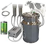 Hantop Cow Goat Milking Machine, Pulsation Rechargeable Battery Vacuum Pump Milker, Automatic Portable Livestock Milking Equipment (Battery Milker 7L,for Cow)
