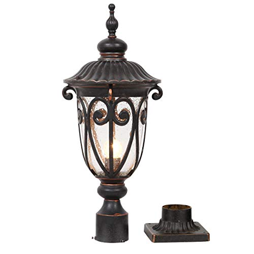 Goalplus Outdoor Post Light Fixture with Pier Mount Vintage Post Lamp for Yard 60W E26 Post Lantern in Bronze Finish with Seeded Glass Shade, 24