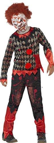 Niño Terror Deluxe Zombie Payaso Disfraz Halloween Con Máscara Y Pelo Talla Mediana Edad 7 a 9 años
