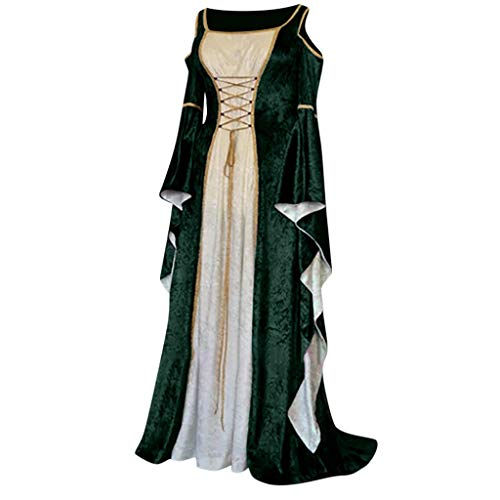Yuwegr Damen Mittelalter Kleid Renaissance Gothic Court Retro Frauen Kleider Party Cosplay Kostüm Schulterfrei Prinzessin Kleider Langarm Bodenlangen Ballkleider Halloween Kleidung (M, Grün)