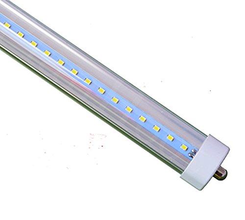 LED Single Pin 8 Feet 48 Watt 6500K F96T12/T8/FA8 Fluorescent Replacement Clear Lens Tube Light (Lot of 10)