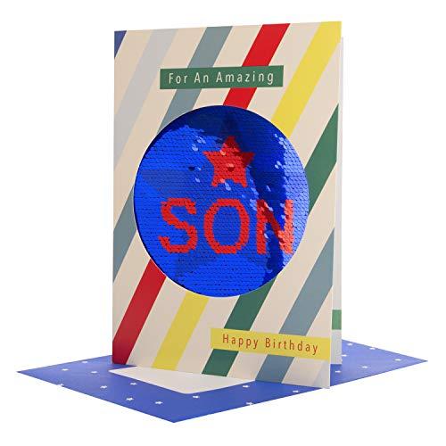 Hallmark Omkeerbare pailletten Zoon Verjaardagskaart 'Geniet' - Medium