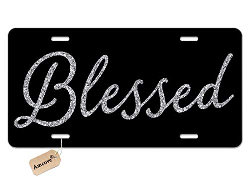Amcove Blessed Car Tag Glitter Like - Front License Plate Vanity Tag, Car License Plate, Art Plate 6 X 12 Inch