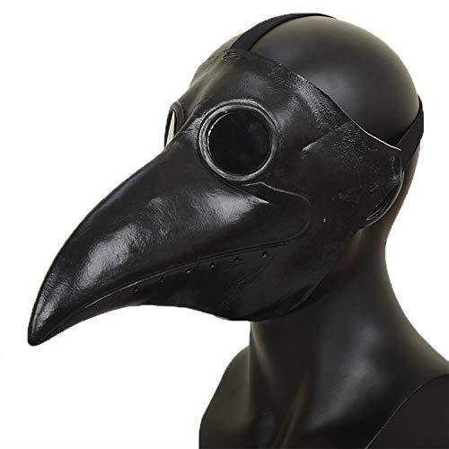 WJDH Máscara de Pico de Halloween Látex Máscara de médico de la Peste Bola de Carnaval Fiesta Divertida Talla única Ojos Plateados Negros