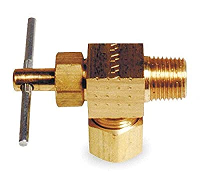 Needle Valve, Angled, Brass, 1/8 x 1/4 In. by GRAINGER APPROVED