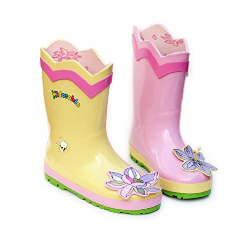 Kidorable Lotus Flower Yellow and Pink Natural Rubber Rain Boots (Big Kid), 1 M US