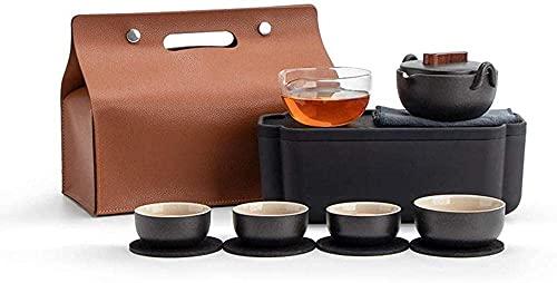 Bule de chá japonês, portátil de cerâmica Kungfu conjunto de chá de porcelana e bule de chá, caixa de armazenamento de amplificadores para Natal, aniversário ou aniversário