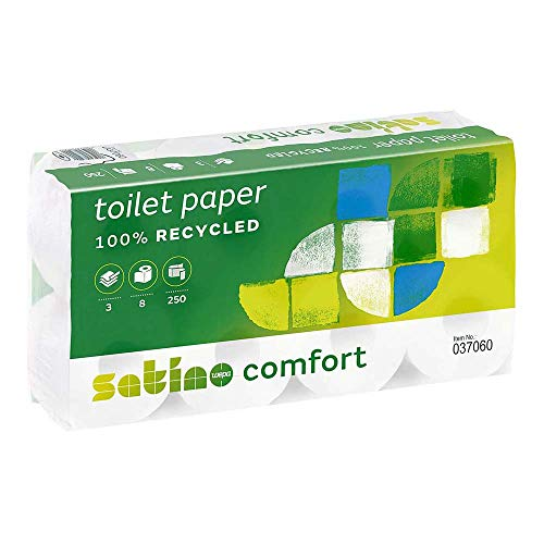 wepa satino comfort - Toilettenpapier 3lagig 250Blatt 8 Rollen (2erPack)