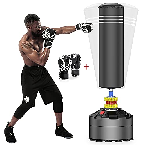 ELEMARA Freestanding Punching Bag with Boxing Gloves and Suction Cup Base for Adult Youth, Black,...