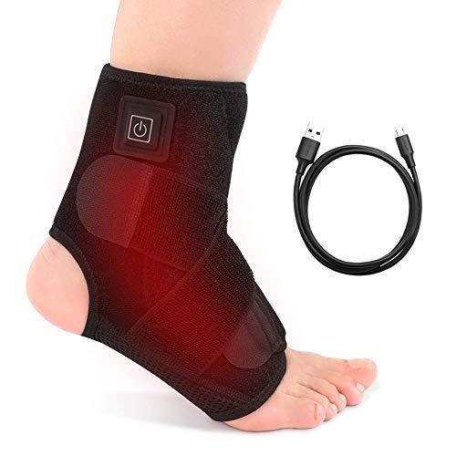 Haofy Beheizte Knöchelbandage für Damen Herren, Elektrisch Heißtherapie Fußgelenkbandage Fußbandage Sprunggelenk mit Klettverschluss für Zerrungen Knöchelverstauchungen Sport, Passen Linke Recht Fuß