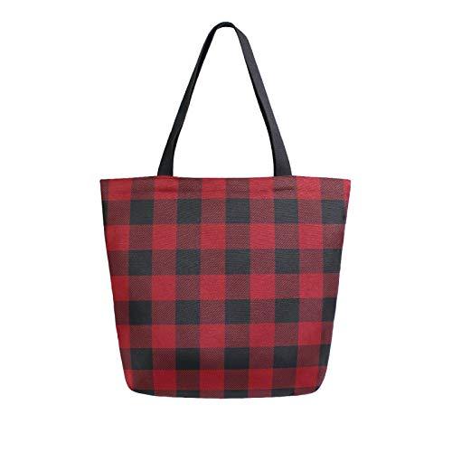 RELEESSS Buffalo Plaid Frauen Canvas Tote Bag Strandtasche Einkaufstasche Schultertasche Handtasche