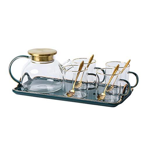 YCDJCS Tee Set Heiße Kalte 2-Zwecke Hochtemperaturbeständige Glas Teekanne Teetasse Set Mit Tablett Haushaltsnachmittagstee-Früchte-Tee Geschirr Teeservice (Color : Green, Size : 10pcs)
