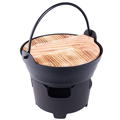 Happy Sales HSNBS-IRORI, japanischer Stil, Shabu Shabu Topf-Pfanne, Hot Pot Sukiyaki-Pfanne, Irori Nabe-Topf mit Holzdeckel und Kochherd, 17,8 cm Durchmesser