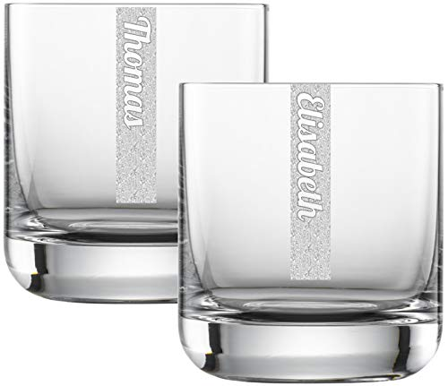 Miriquidi Whiskygläser 2er Set mit Gravur | 2 Stück Whiskyglas 300ml Schott Glas mit Namen | Spülmaschinenfest | Trinkglas & Individuelle Lasergravur