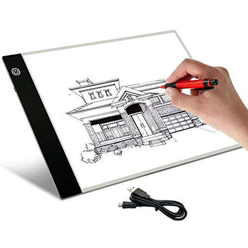 Schliersee A4 LED Artists Light Box for Drawing Thin Portable Light Box Tracer Pad 4mm USB Power, 3 Level Brightness Pad LED Light
