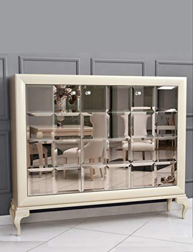 Casa Padrino Neoklassik Kommode verspiegelt Weiß/Gold 179 x H147 cm - Sideboard Art Deco Möbel