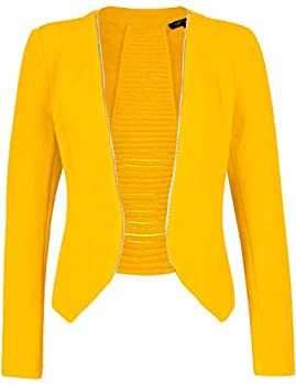 Michel Womens Fleece Casual Open Front Lightweight Blazer Classic Zip Cardigan Jacket with Plus Size Yellow Small