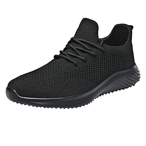 Zapatillas de deporte para hombre, para el tiempo libre, transpirables, de malla, para actividades al aire libre, para correr, caminar, correr, caminar, hacer deporte, etc., Negro , 39 EU