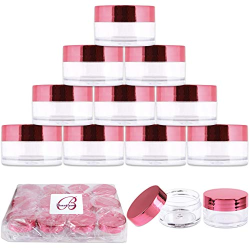 Beauticom 20g/20ml USA Acrylic Round Clear Jars with Lids for Lip Balms, Creams, Make Up, Cosmetics, Samples, Ointments and other Beauty Products (12 Pieces, Rose Gold Lid (Flat Top))