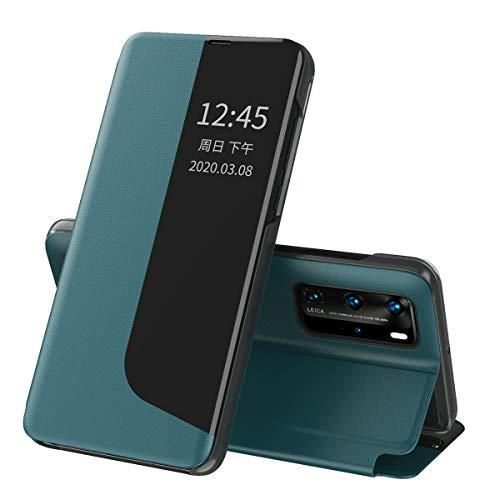 Oihxse - Funda para Huawei P30 Pro Smart View con función atril y cierre magnético, de silicona transparente, funda de piel original de color verde