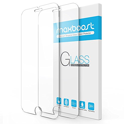 Maxboost (2-Pack) Screen Protector for iPhone SE 2020 2nd Gen, iPhone 8, iPhone 7, iPhone 6S, and iPhone 6, Tempered Glass Case Friendly Protector Tray - 2 Pack