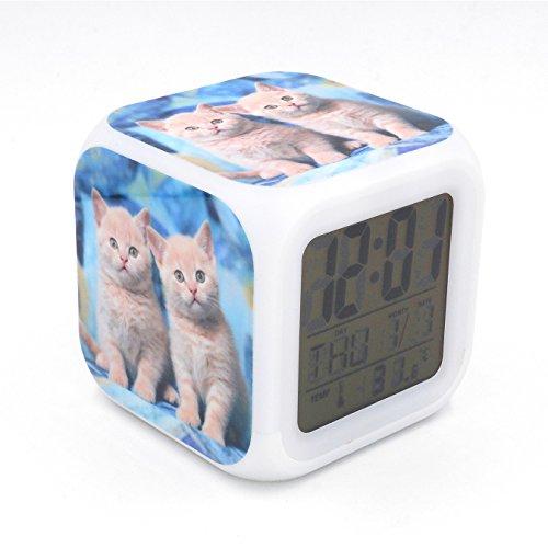 Boyan New British Shorthair Cat Kitty Led Alarm Clock Desk Clock Calendar Snooze Glowing Led Digital Alarm Clock for Unisex Adults Kids Toy Gift