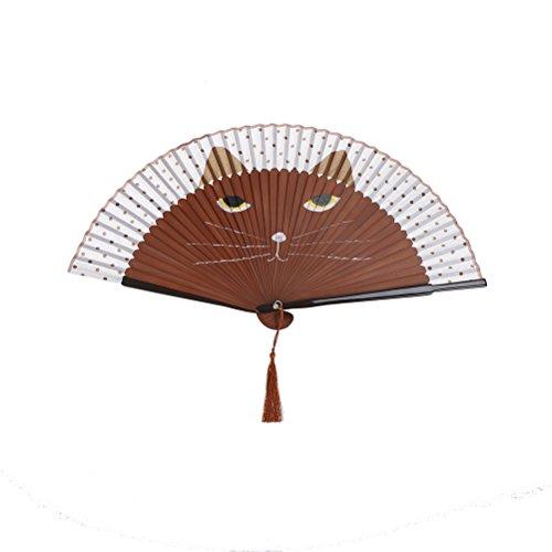 1SourceTek Handfächer aus Seide, faltbar, 38 cm, mit Geschenkbox, chinesischer Retro-Stil (Kaffeekatze)