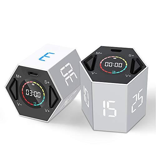 Temporizador de cocina LLANO - Temporizador digital multifunción con cronómetro deportivo digital, pantalla grande con función de hora y alarma, adecuado para cocinar, trabajo, ejercicio, juegos