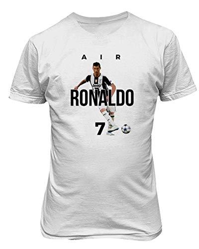 BTA Apparel Neu Fußball Air Ronaldo CR7 Cristiano Ronaldo Juve Herren T-Shirt (Weiß, S)