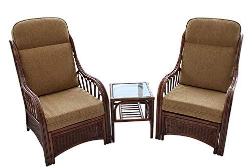 Garden Market Place Verona-Juego de 2 sillas y una Mesa Auxiliar, Color café, marrón, 119 X 80 X99