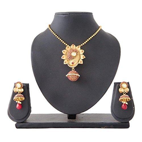 INAYA Latón Cristal y oro amarillo plateado colgante conjunto Con rojo Chaton Piedra, 1 par