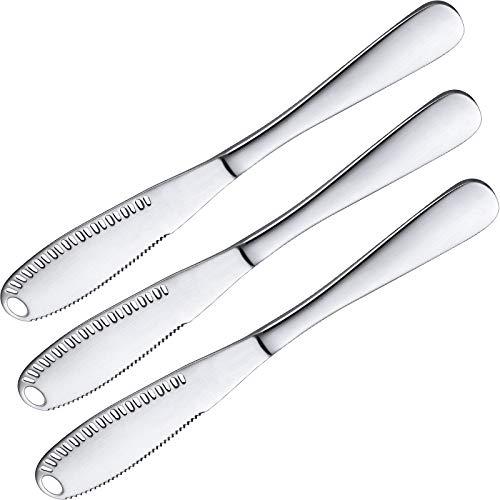 3 Pack Stainless Steel Butter Spreader Knife, 3 in 1 Kitchen Gadgets, Curler, Butter Grater, Multi-Function Butter Spreader and Grater with Serrated Edge, Shredding Vegetables Fruits