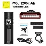 Bicicleta de la luz 3200mAh kit de luz de bicicletas P90 P50 L2 linterna for la bicicleta T6 USB recargable batería de ciclo ligero Como banco de la energía-P50_3200Mah (Color : P50 1200mah Set)