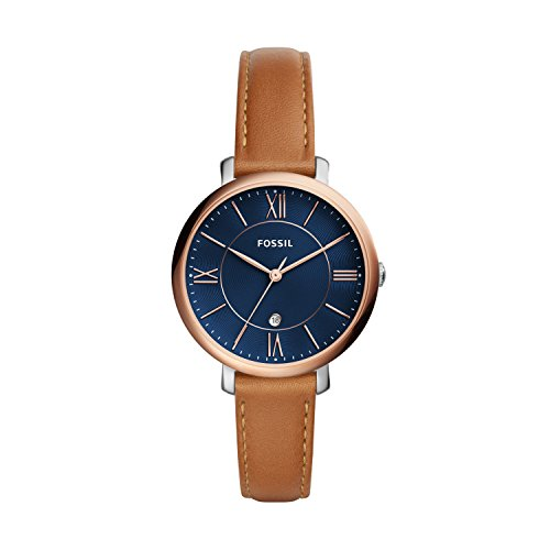Fossil Women's Jacqueline Quartz Leather Three-Hand Watch, Color: Rose Gold/Blue, Luggage (Model: ES4274)