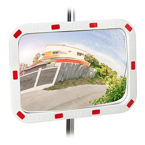 Relaxdays Verkehrsspiegel 40x60 cm, wetterfest, unzerbrechlich, professionell, mit Halterung, ABS-Kunststoff, weiß-rot