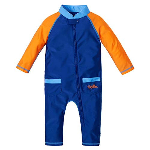 UV SKINZ UPF 50+ Baby Boys' Sun & Swim Suit - Navy Blue/Orange - 12/18m