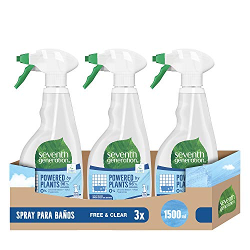 Seventh Generation Free & Clear- Spray para Baño, 0% Cloro y Fragancias, 3 Recipientes de 500 ml, Total: 1500 ml