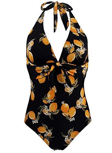 Doballa Damen Retro 50er Jahre Polka Dots Print Vintage V-Ausschnitt Halfter EIN Stück Fliege vorne Bikini Badeanzug (S, Schwarz und Zitrone)