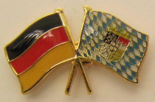 Bayern / Deutschland Fre&schafts Pin Anstecker Flagge Fahne Nationalflagge Doppelpin Flaggenpin Badge Button Flaggen Clip Anstecknadel bayerische