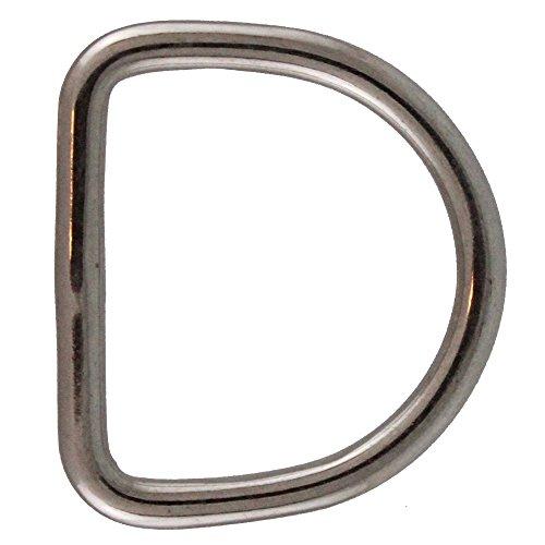 10 Stück D-Ringe 4 X 25 geschweißt, poliert, Edelstahl A4