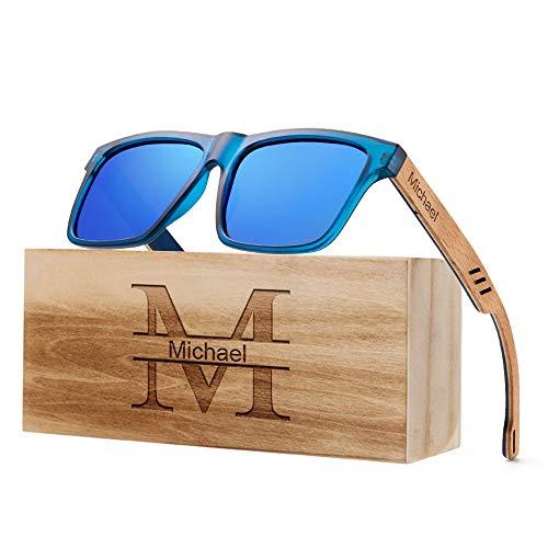 andisi Sonnenbrille Personalisiert Gravierte Männer Polarisierte Holz Sonnenbrille Personalisierte Design Frauen Sonnenbrille Holz Rahmen Gläser Groomsmen Geschenk (Blau)