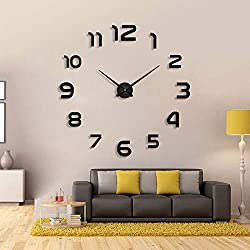 FASHION in THE CITY 3D DIY Mirror Surface Wall Clock Large Size Wall Decorative Clocks Silent Non Ticking Movement Clock Hands (Black)