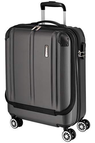 Travelite 4-Rad Handgepäck Koffer mit Vortasche erfüllt IATA Bordgepäckmaß, Gepäck Serie CITY: Robuster Hartschalen Trolley mit kratzfester Oberfläche, 073046-04, 55 cm, 40 Liter, anthrazit (grau)