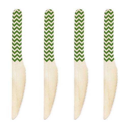 Dress My Cupcake 6.5-Inch Natural Wood Dessert Table Knives, Leaf Green Chevron, Pack of 50