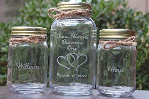 Unity Candle - Unity Candle Holder - Mason Jar Sand Ceremony Set, Wedding Ceremony Set, Unity Sand Set, Wedding Keepsake, Sand Ceremony Set, Two Hearts Become One - Unity Hourglass Sand Ceremony Sets