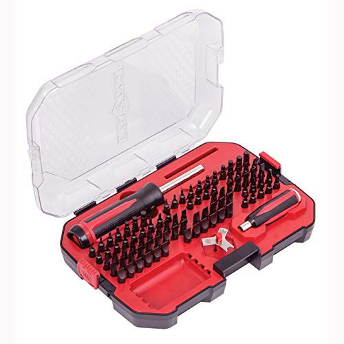 Real Avid Smart Drive 90 Professional Gunsmithing Screwdriver Set with Hollow Ground Square Cut Slotted Tip Bits, Scope Turret Tool and Ergonomic, Force-Assist LED Illuminated Bit Driver, Red